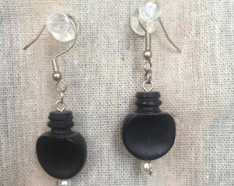 Vintage Ebony Violin Peg Earrings