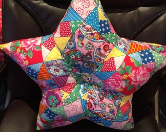 Star shaped cushion with patchwork patterned fabric, patchwork cushion, statement cushion