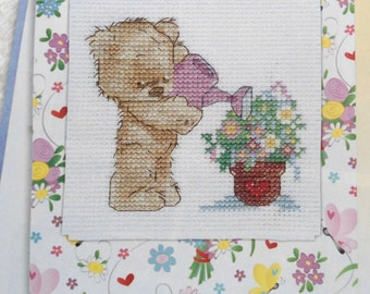 Embroidery Kit, Cross Stitch, Greeting Cards, DIY Cards, Postcard Sticker, Postcards, Teddy Bear, Postcard Creations, Embroidery Teddy Bear