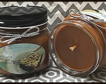 Chocolate, Walnut, Espresso, Soy Candles, Coffee Candle, Unique Candle, Coffee Cup, Jar Candles, Food Candles, Eco Friendly, Home Decor
