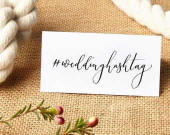 Wedding hashtag calligraphy place card add on