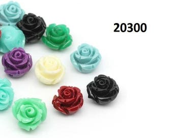 Flowers, rose, roses, coral, resin, Cabochon, 10mm, 12mm, 14mm, 29mm