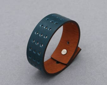 Leather Bracelets Hole Punched Teal Green Wide Cuff Men Women