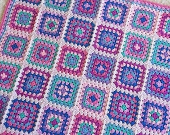 Handmade crochet baby blanket, pram blanket, baby gift, granny square baby blanket, granny square blanket