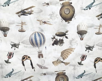 Flying machines steampunk fabric - heavy canvas cotton - home fabric - steampunk fabric - planes fabric - Edwardian fabric - Victorian