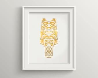 Haida Beaver Gold Foil Print, Totem Pole Art, Tlingit NorthWest Coast, Beaver Print, Native American Art, Haida Gold Foil Art Print