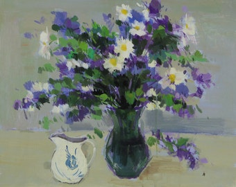 Flowers | Original Floral Still Life Impressionist Oil Painting on Canvas 20inX16in