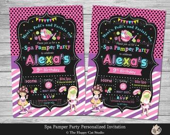 Spa Party Invitation, Pamper Party, Personalized, Printable, Invites, Digital Print Download File, Beauty, Mani, Pedi, Facial, Girls, Custom
