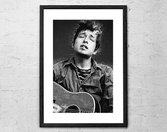 Bob Dylan - Illustration - Bob Dylan Poster - Bob Dylan Print - Bob Dylan Art - Rock Poster - Black and White Wall Decor - Folk Country Poet