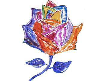 Rainbow Rose romantic & vibrant handmade Valentine's love card
