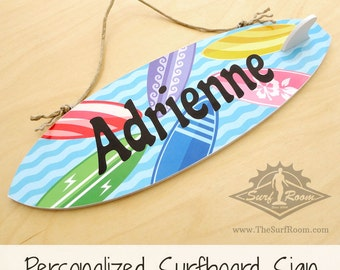 Custom Personalized Surfboard Sign with Colorful Surfboards