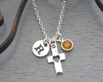 First Communion Necklace, Cross Necklace, Personalized Cross Necklace, Cross Initial Necklace, Confirmation Gift, Baptism Gifts, Cross Heart