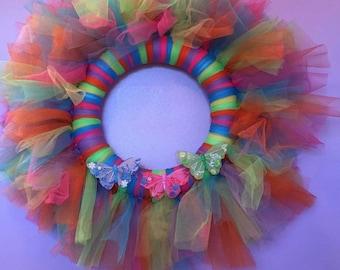 Neon Butterfly Wreath