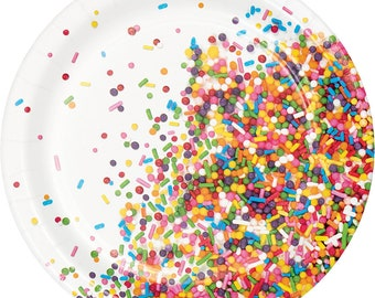 Small Fun Sprinkles Party Plates/ Sprinkles Party Supplies/ Donut Party/ Ice Cream Party/ Cupcake Party