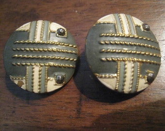 2 BUTTONS ANTIQUE painted metal, steel 22mm tip