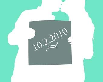 CUSTOM Wedding Date Silhouette