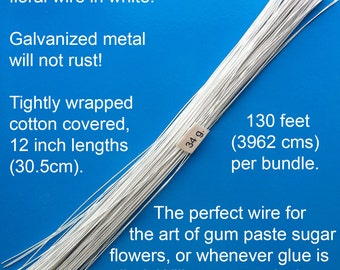 34 Gauge White Cotton Covered Floral Wire - 130 feet per bundle (39.6m) in 12 inch (30.5cm) lengths