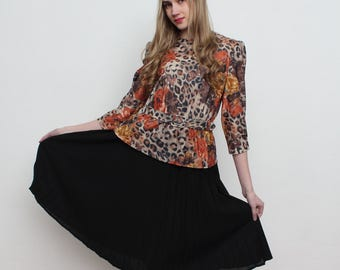 Vintage Black Brown Midi Dress/ Pleated Skirt/ 3/4 Long Sleeves/ Size 12