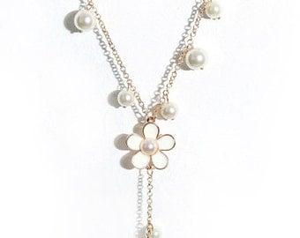 JUNO Long Tassels Little Flowers  Cutie Style Sweater Necklace