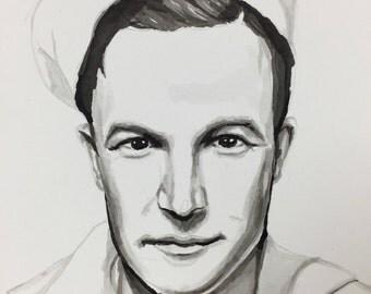 Handmade ink painting of Gene Kelley