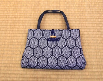 Japanese vintage bag / navy color hand bag