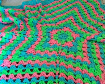 Rainbow star crochet baby blanket