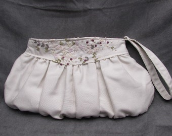 Bridal Clutch in Ivory Silk with Pink and Burgandy Embroidery