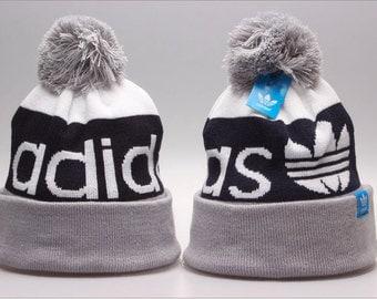 Adidas Originals Mercer Ballie Pom Beanie Winter Hat Cap Black White Grey