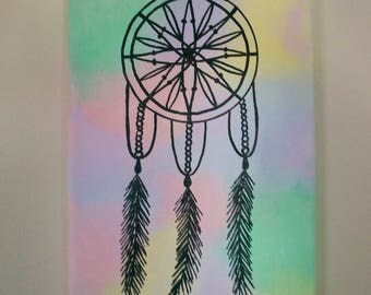 Items similar to dream catcher painting on etsy for Dream catcher spray painting