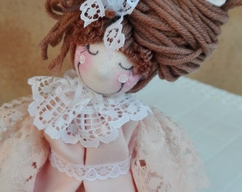 Rag doll, art doll, handmade, hand made, hand painted, pigottina, piece of furniture, pink