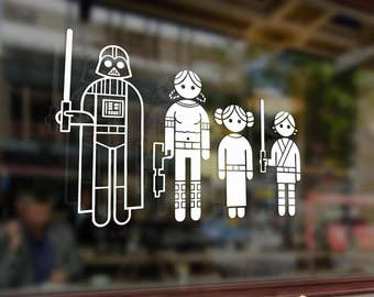 Fun Stick Family Star Wars Jedi Wader Vinyl Stickers Funny Decals Bumper Car Auto Computer Laptop Wall Window Glass Skateboard Snowboard