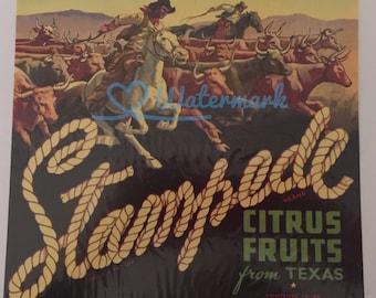 Stampede Texas Fruit Crate Label