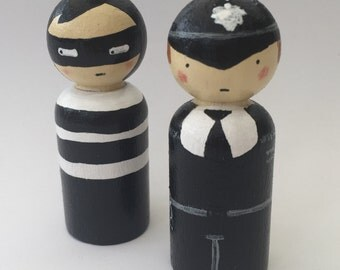 Cop and Robber Hand Painted wood peg dolls  EYFS/ Gift /Education / Smallworld