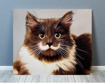 Cat Print, Cat Art, Cat Artwork, Cat Canvas, Cat Portrait , Cat with Moustache, Brown & Cream Cat (The Cat that got the cream) - Sell UK/USA
