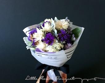 Little Flower Bouquet, Dried Flower Bouquet {purple + white}