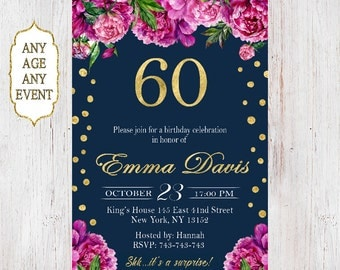 60th birthday invitations, 60th birthday invitations for women,60 birthday invitations,  30th, 40th, 50th, 60th, 70th, 80th, 90th 69