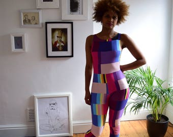 The Error Print Jumpsuit - Multi coloured print stretch jersey perfect for gym wear