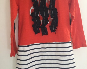 3T/4T Girls Upcycled T-Shirt Dress- Stripes and Hearts