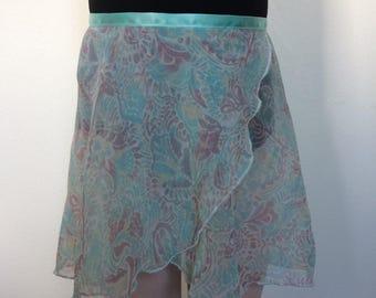 Girls Blue Printed Ballet Wrap Skirt