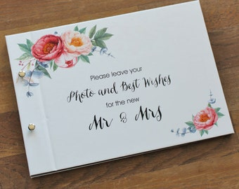 "Guest Book A4, Wedding Photo Book, ""Floral"", Weddings, Engagements, Birthdays, Anniversaries"