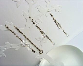 Set Bracelet earrings chain bronze and pearls