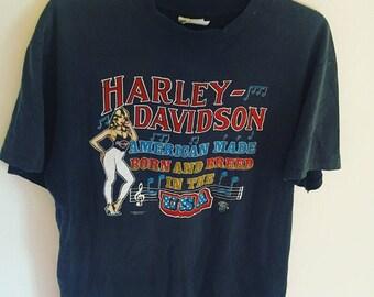 Vintage Harley Davidson T-Shirt Biker Babe American Flag Festival Style