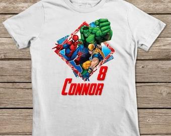 Avengers Birthday Shirt, Avengers Iron On Transfer Shirt, Printable Personalized Birthday Shirt, Hulk Iron On, Spiderman Iron On, Wolverine