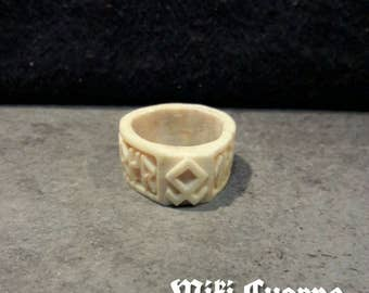 Runico ring, in Deer Antler (Futhark). Single piece.