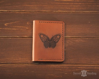 Leather card holder Butterfly, vintage leather Crazy horse CH007