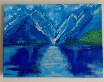 """Landscape acrylic painting on canvas, mountain and lake, original abstract art, nature wall art. """"Balance in Blue""""."""