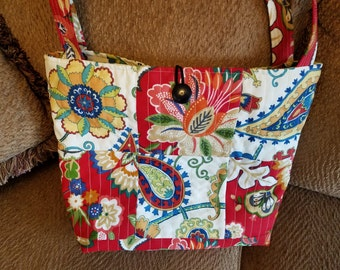 "QUILTED TOTE BAG - Red Flowered Bag - 17"" x 12"""