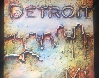 Decorative Detroit skyline tile in blue shade!