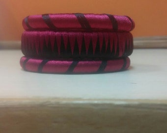 Black and Maroon Silk Threaded Bangle set