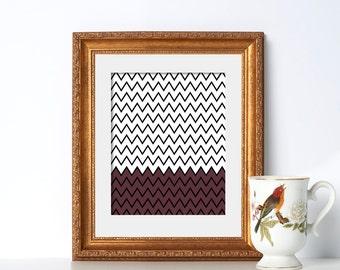 Zig Zag Print Digital Download Printable Art Brown Black and White Noir Line Art Poster Geometric Print Symmetrical Art Kitchen Decor Art